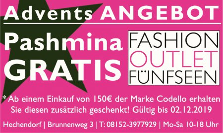 Adventsangebot Fashion Outlet