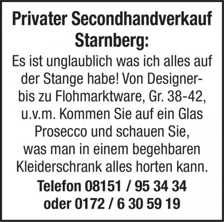 Privater Secondhandverkauf St