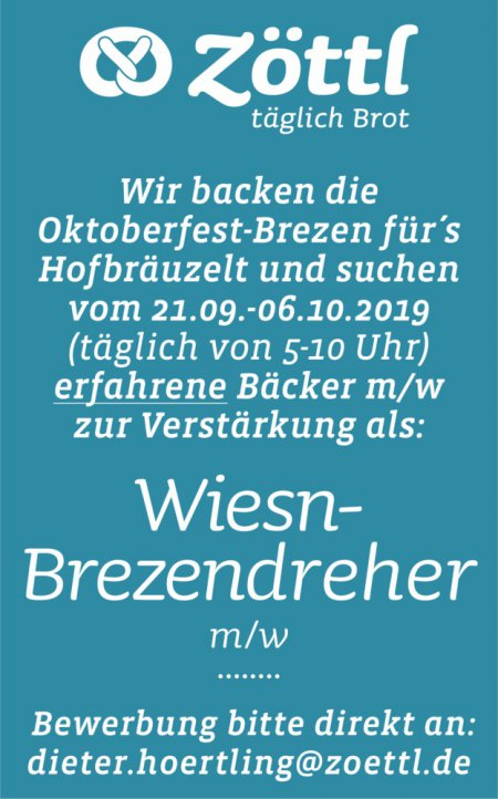Wiesn- Brezendreherm/w Wir ba