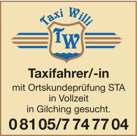 Taxifahrer/-in mit Ortskundep