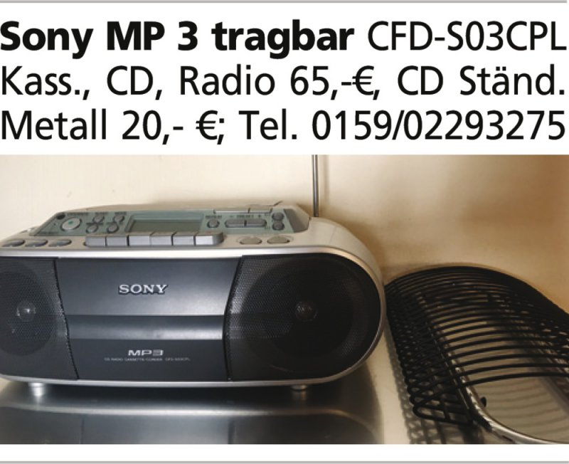 Sony MP 3 tragbar CFD-S03CPL Kass., CD, Radio 65,-¤, CD