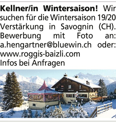 Kellner/in Wintersaison! Wir