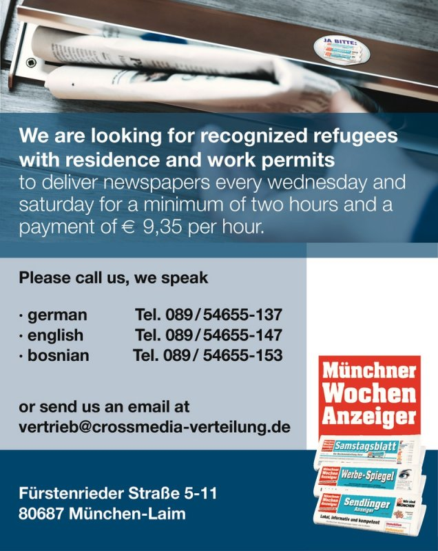 We are looking for recognized refugees with residence and work